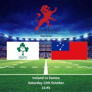 Ireland vs Samoa Saturday 12th October